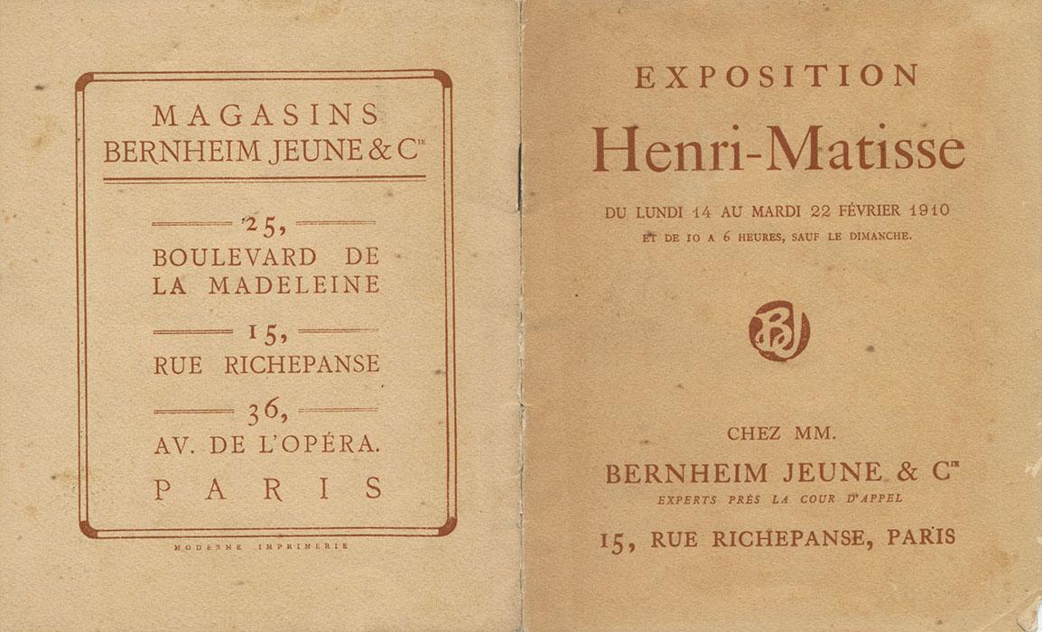 Couverture exposition Henri Matisse 1910 Bernheim
