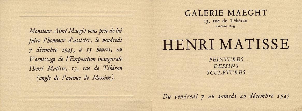 1945 Maeght Paris - carton d'invitation
