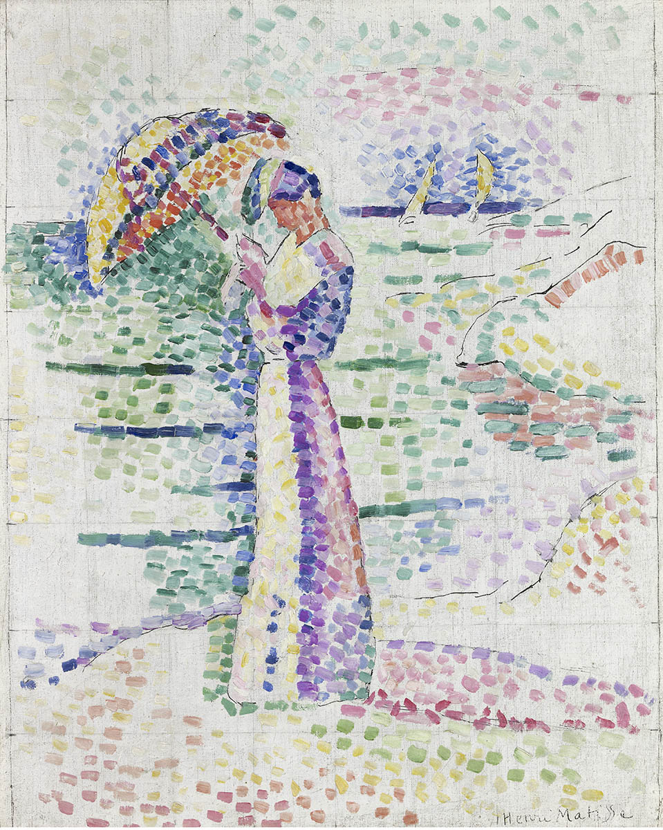 """""""Figure à l'ombrelle"""", Collioure, 1905, huile sur toile"""
