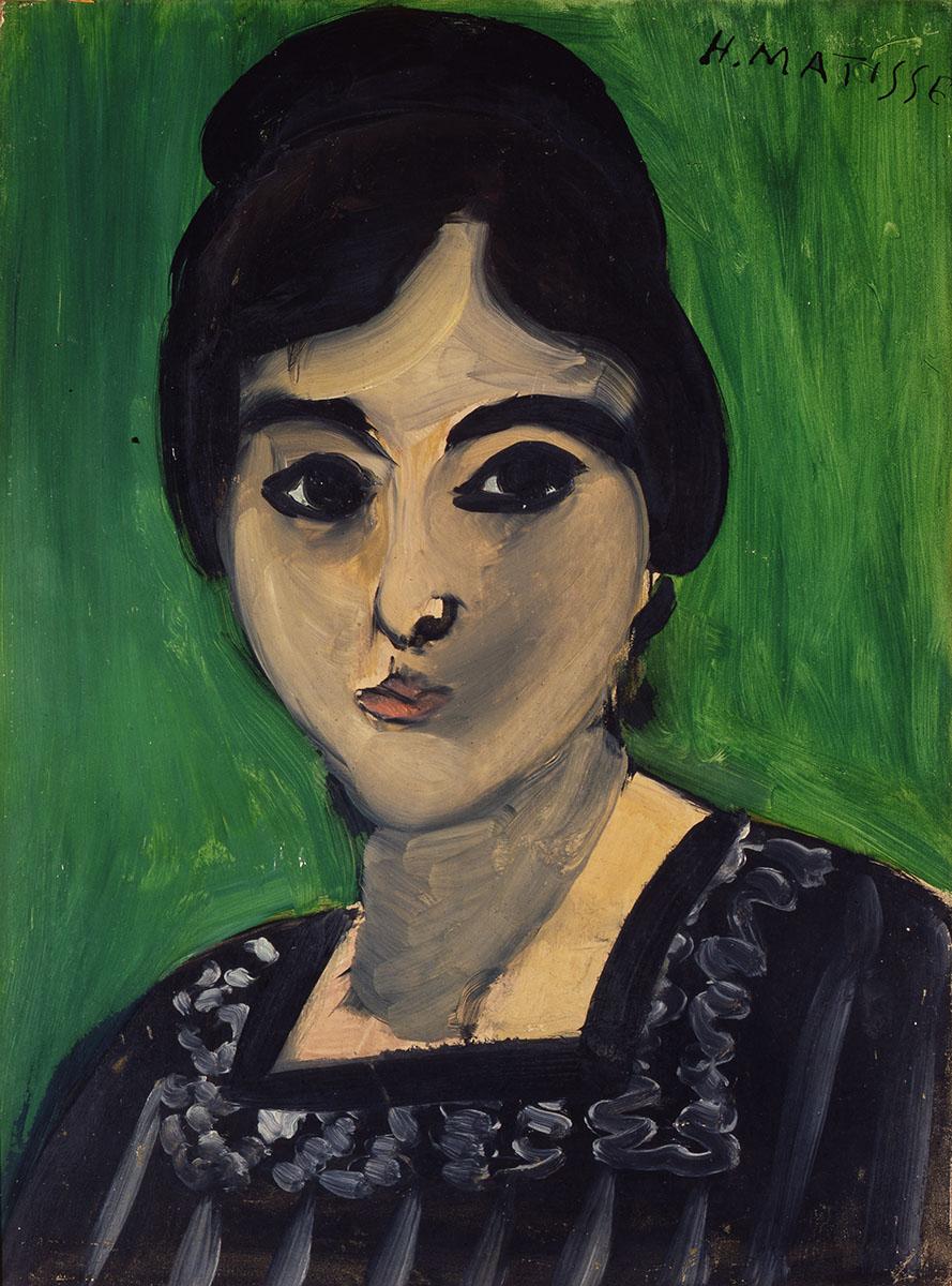 """""""Tête de Laurette sur fond vert"""", huile sur bois, Paris, 1916"""