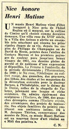 Article du journal Arts de1963 : Nice honore Henri Matisse