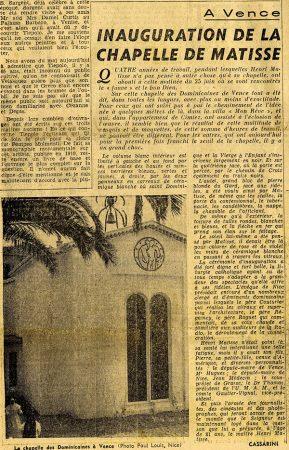 Revue Arts du 29 juin 1951 : inauguration de la chapelle de Matisse