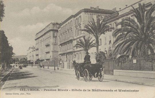Hôtel Méditerranée et de la Côte d'Azur, Nice, vers 1900, carte postale