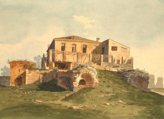 Urbain Garin de Cocconato, Ancienne maison à Cimiez et ruines des thermes, aquarelle sur papier Canson, s.d., coll. Musée Masséna, Nice