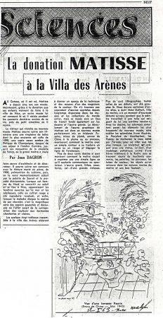 Nice Matin, 12 janvier 1963 : donation Matisse