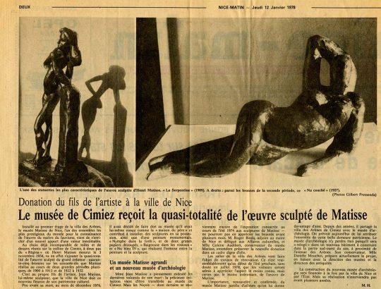 Nice Matin, 12 janvier 1978 : donation de l'œuvre sculptée de MAtisse