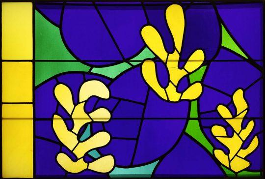 Vitrail, étude pour « L'arbre de vie », Nice, verre coloré, transparent et dépoli serti de plomb