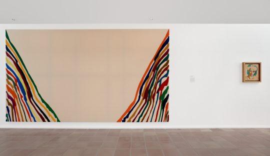 """Musée Matisse """"Les Murs reculent"""" Vue exposition de Morris Louis, « Alpha Lambda », 1961, Acrylique sur toile"""